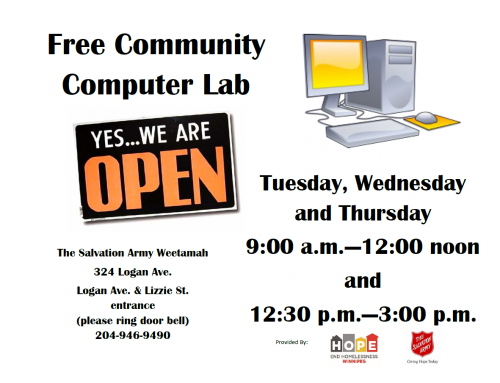 Free Community Computer Lab @ Salvation Army Weetamah
