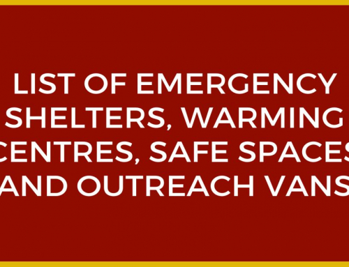 List of Emergency Shelters, Warming Centres, Safe Spaces and Outreach Vans