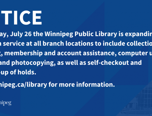 Winnipeg Public Library Expanding in Person Service on July 26